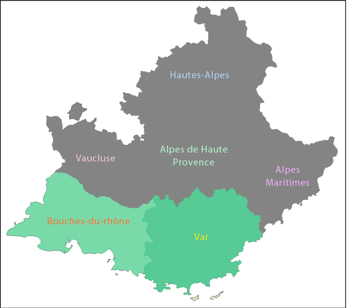 Carte des zones d'intervention secteur PACA